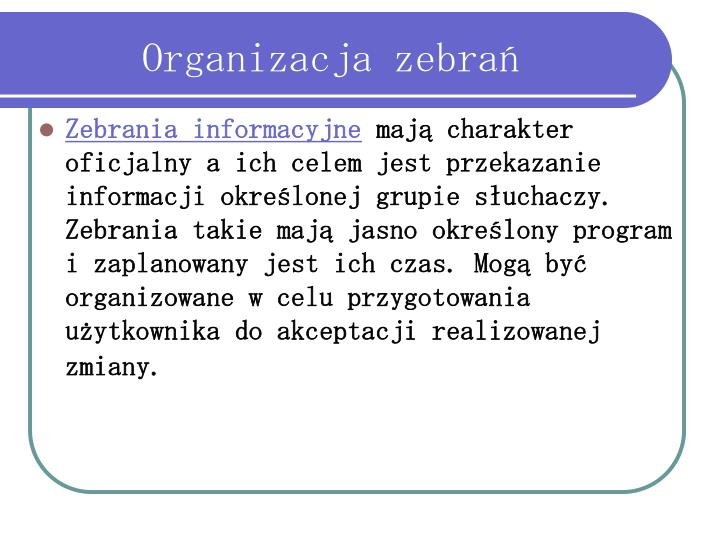 Organizacja zebrań
