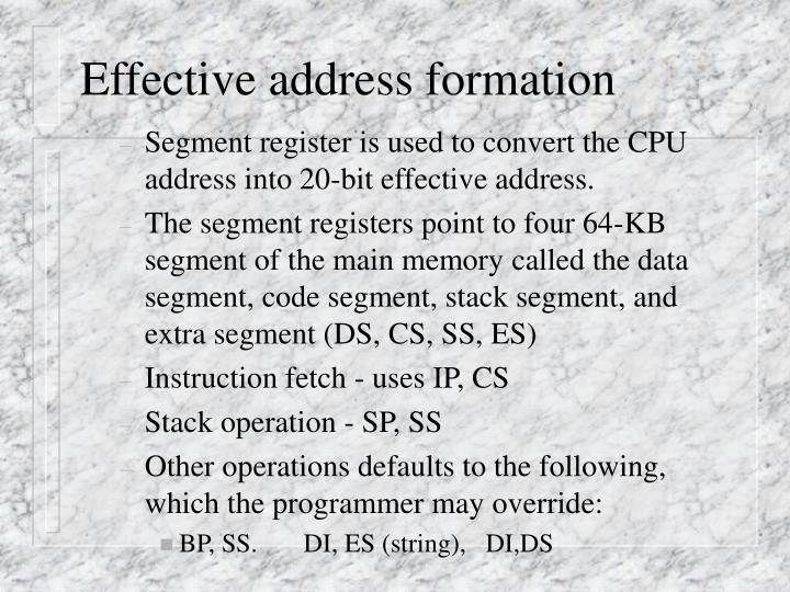 Effective address formation
