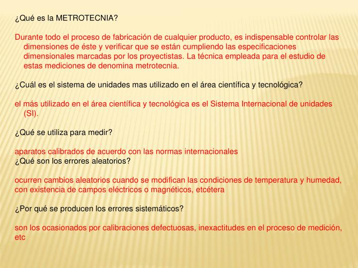 ¿Qué es la METROTECNIA?