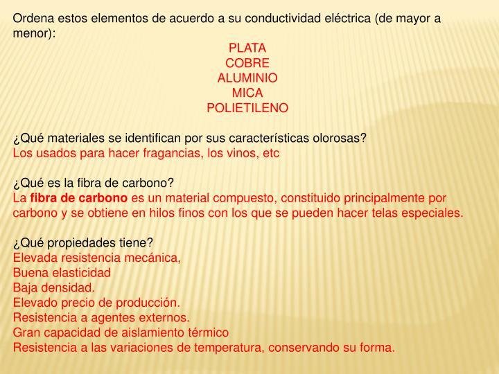 Ordena estos elementos de acuerdo a su conductividad eléctrica (de mayor a menor):
