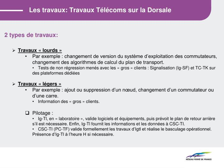 Les travaux: Travaux Télécoms sur la Dorsale