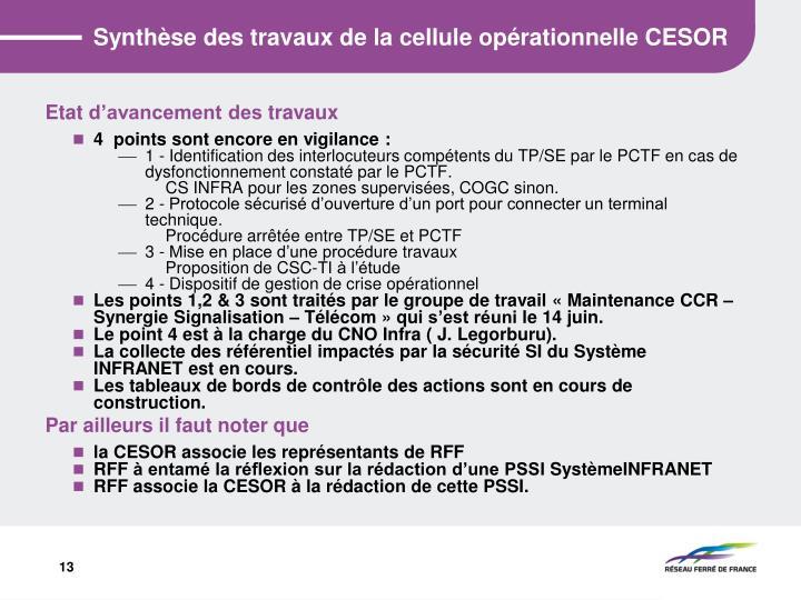 Synthèse des travaux de la cellule opérationnelle CESOR