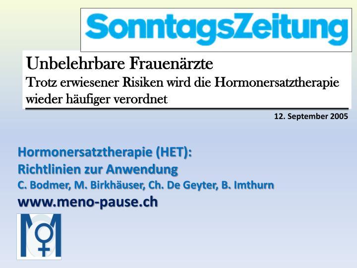 Hormonersatztherapie (HET):