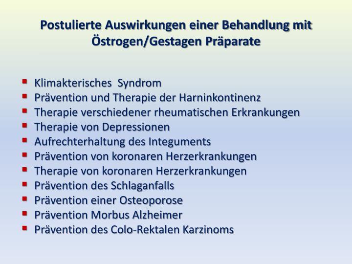 Postulierte Auswirkungen einer Behandlung mit Östrogen/Gestagen Präparate