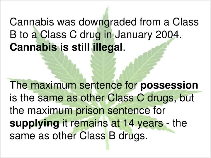 Cannabis was downgraded from a Class B to a Class C drug in January 2004.