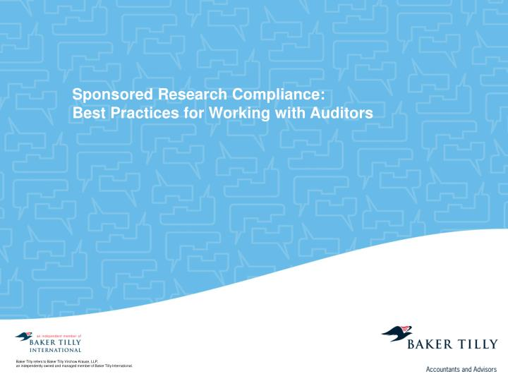 Sponsored Research Compliance: