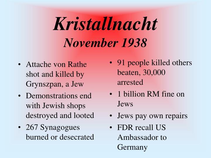 Attache von Rathe shot and killed by Grynszpan, a Jew