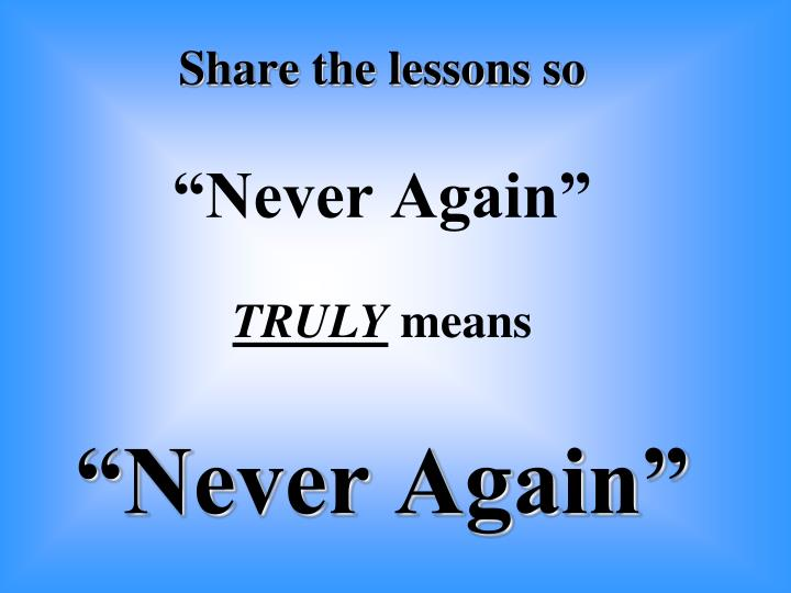 Share the lessons so