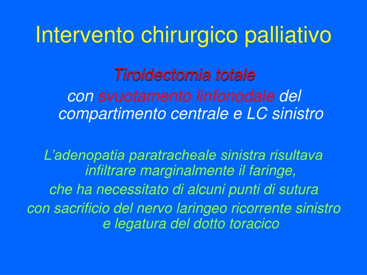 Intervento chirurgico palliativo