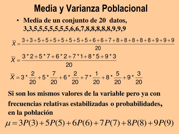 Media y Varianza Poblacional