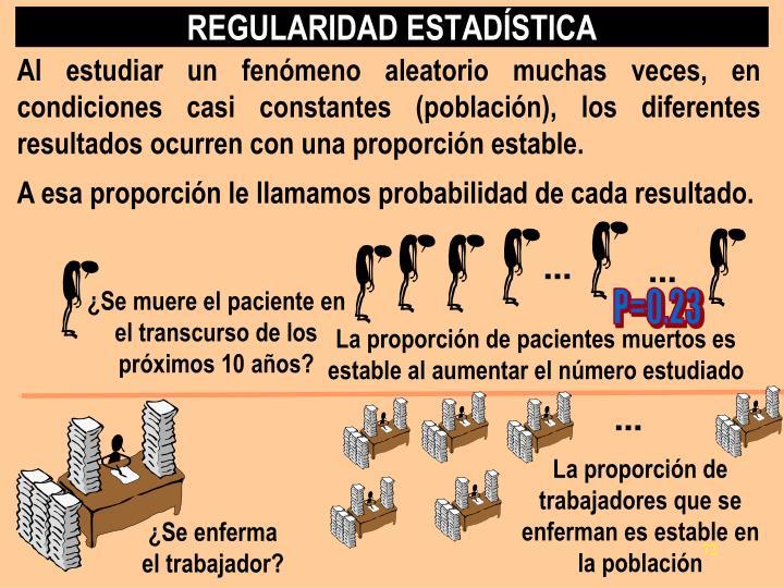 Al estudiar un fenómeno aleatorio muchas veces, en condiciones casi constantes (población), los diferentes resultados ocurren con una proporción estable.