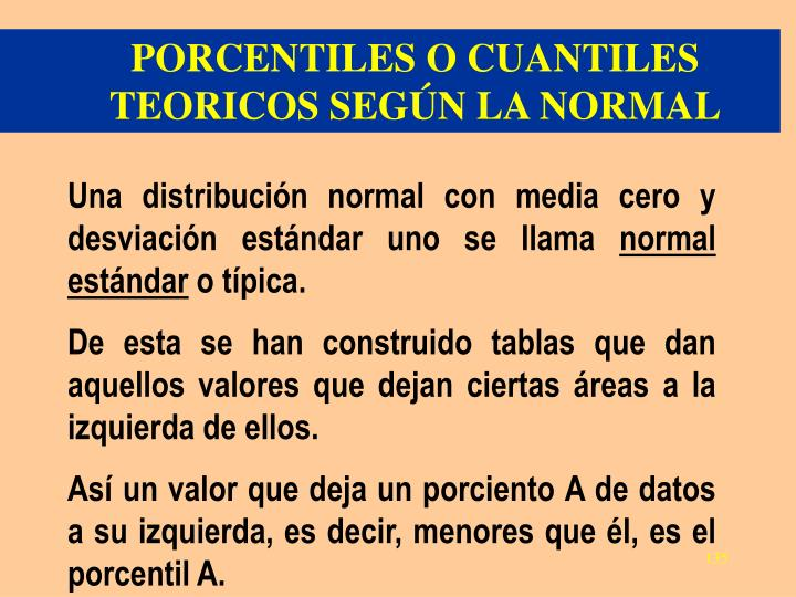 PORCENTILES O CUANTILES TEORICOS SEGÚN LA NORMAL