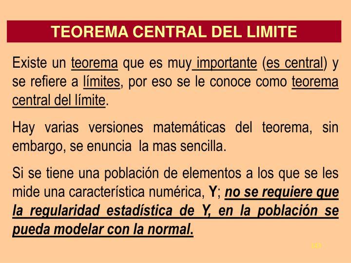 TEOREMA CENTRAL DEL LIMITE