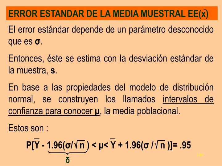 ERROR ESTANDAR DE LA MEDIA MUESTRAL EE(x)
