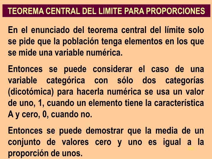 TEOREMA CENTRAL DEL LIMITE PARA PROPORCIONES