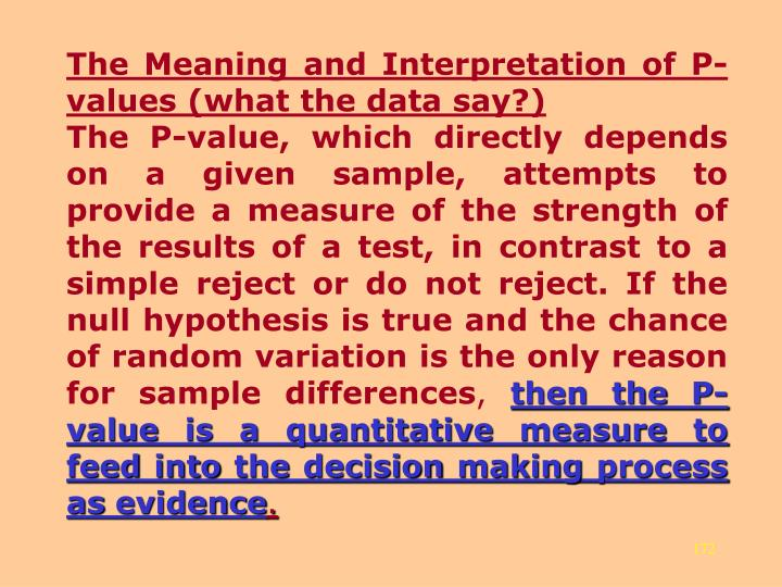 The Meaning and Interpretation of P-values (what the data say?)