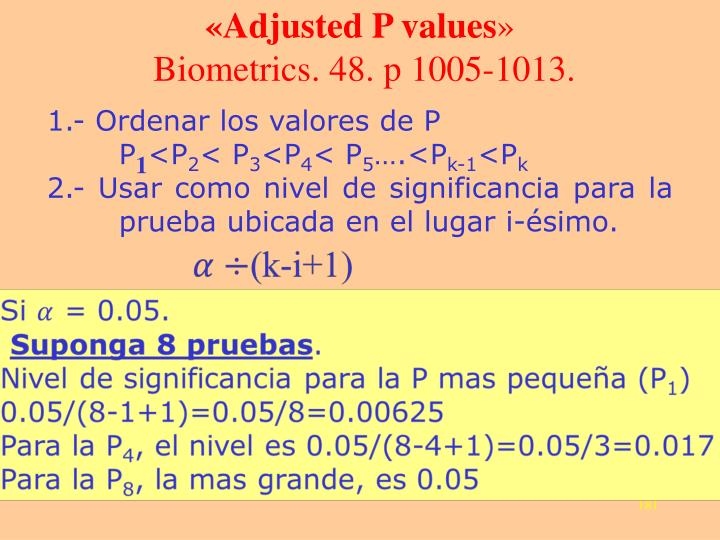 «Adjusted P values