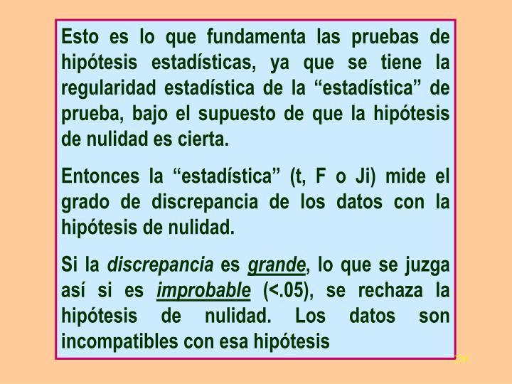 """Esto es lo que fundamenta las pruebas de hipótesis estadísticas, ya que se tiene la regularidad estadística de la """"estadística"""" de prueba, bajo el supuesto de que la hipótesis de nulidad es cierta."""
