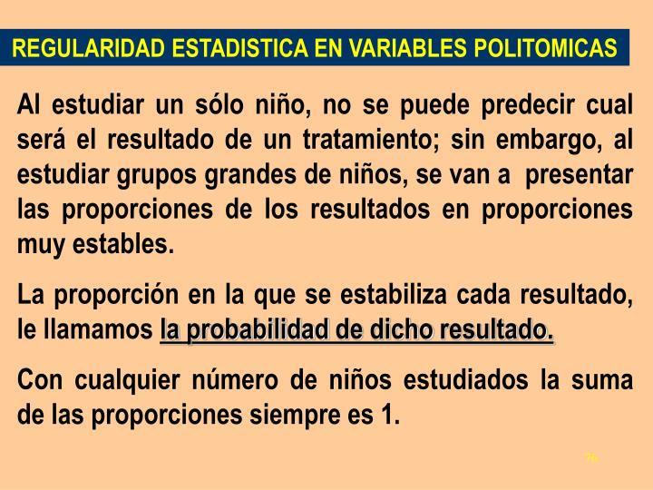 REGULARIDAD ESTADISTICA EN VARIABLES POLITOMICAS