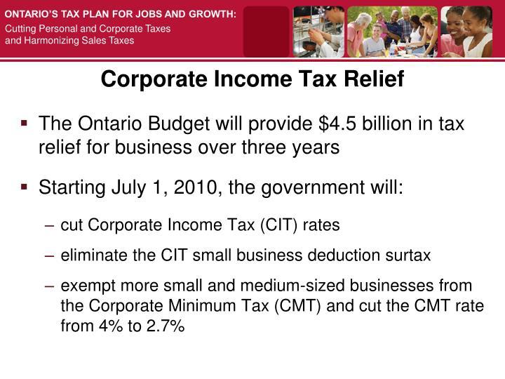 Corporate Income Tax Relief