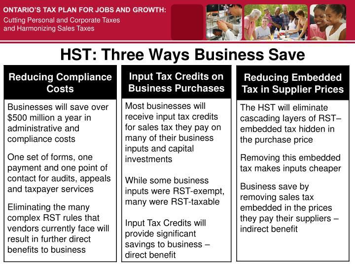 HST: Three Ways Business Save