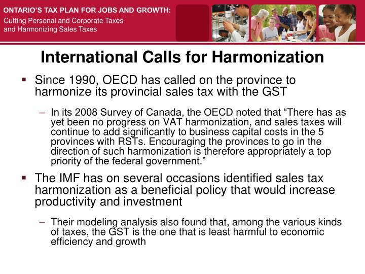 International Calls for Harmonization