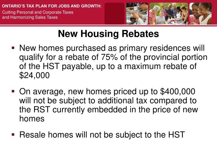 New Housing Rebates