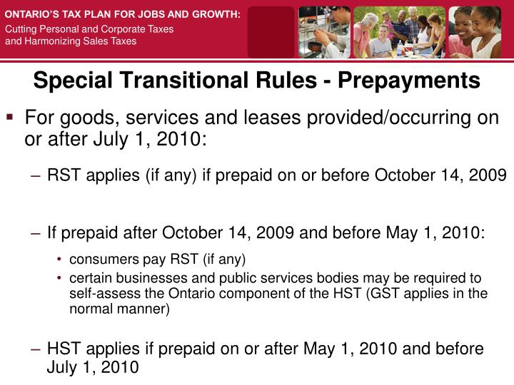 Special Transitional Rules - Prepayments