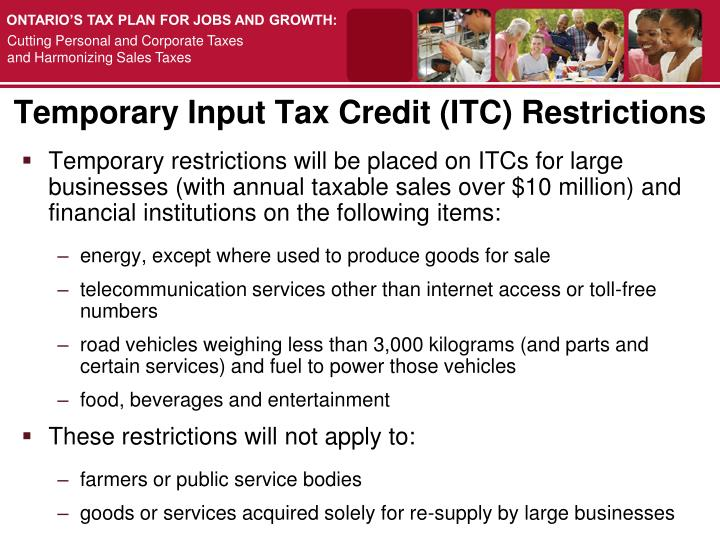 Temporary Input Tax Credit (ITC) Restrictions