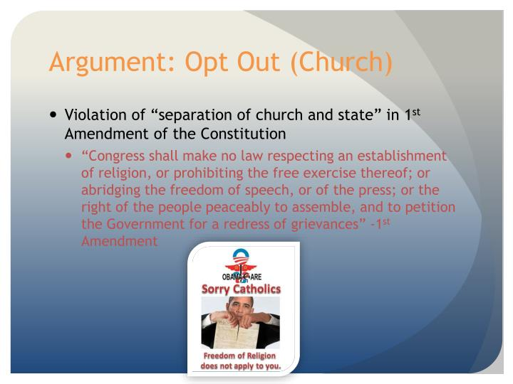Argument: Opt Out (Church)