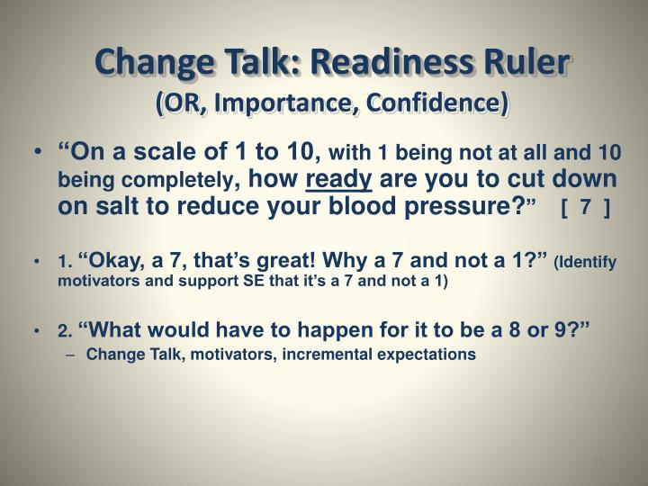 Change Talk: Readiness Ruler