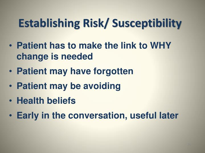 Establishing Risk/ Susceptibility
