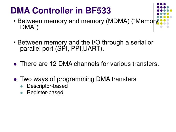 DMA Controller in BF533