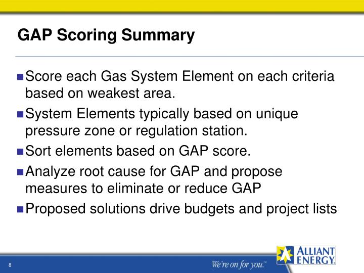 GAP Scoring Summary
