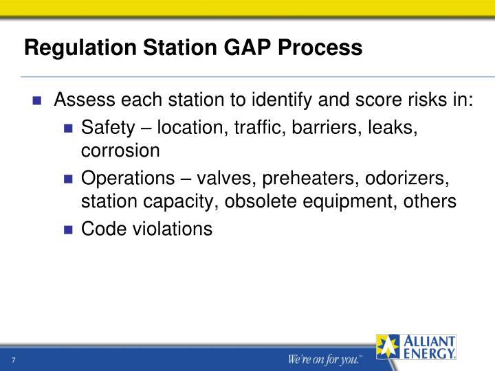 Regulation Station GAP Process