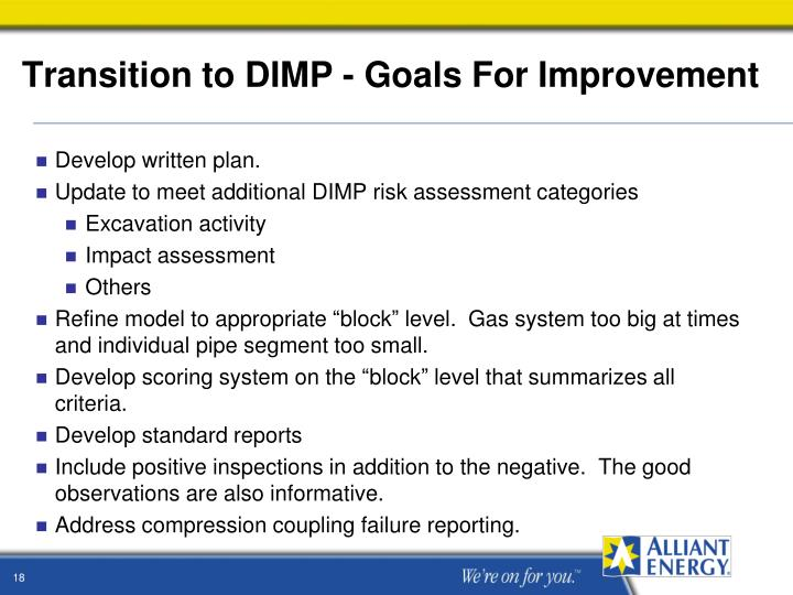 Transition to DIMP - Goals For Improvement