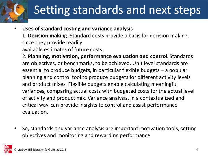 Setting standards and next steps