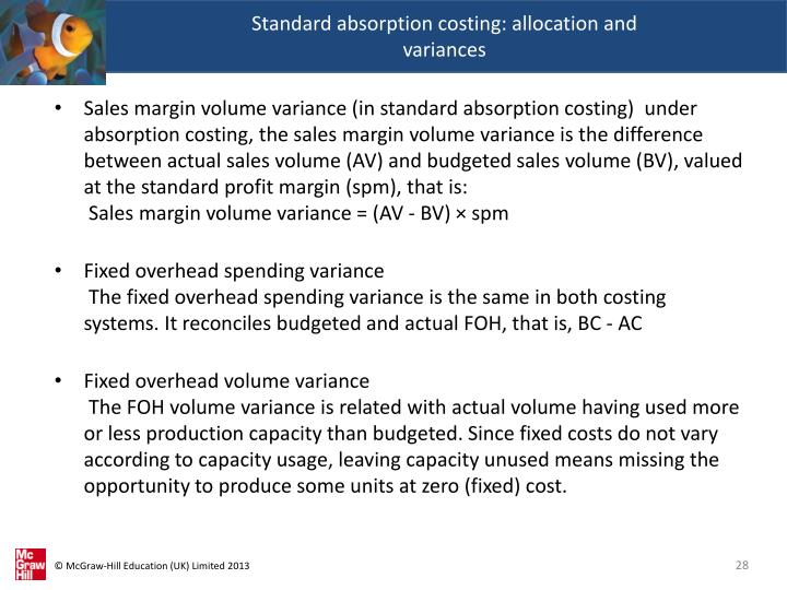 Standard absorption costing: allocation and