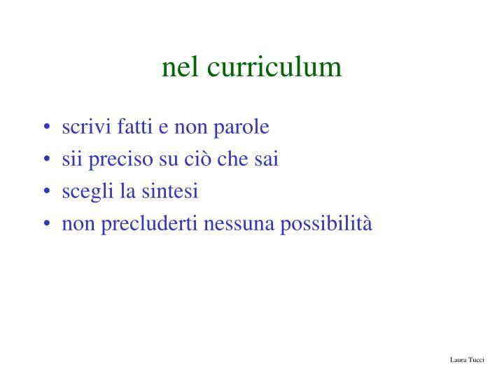 nel curriculum