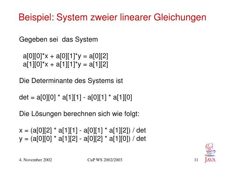 Beispiel: System zweier linearer Gleichungen