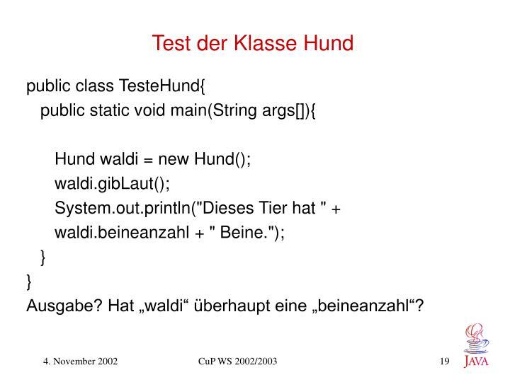 Test der Klasse Hund