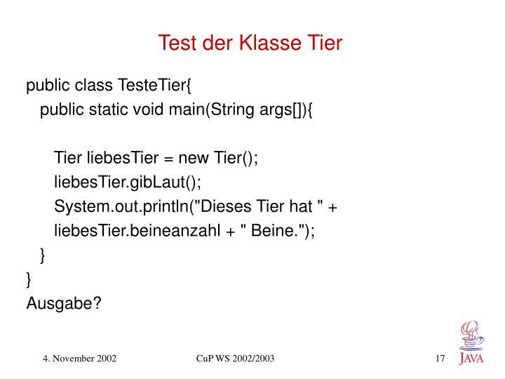 Test der Klasse Tier