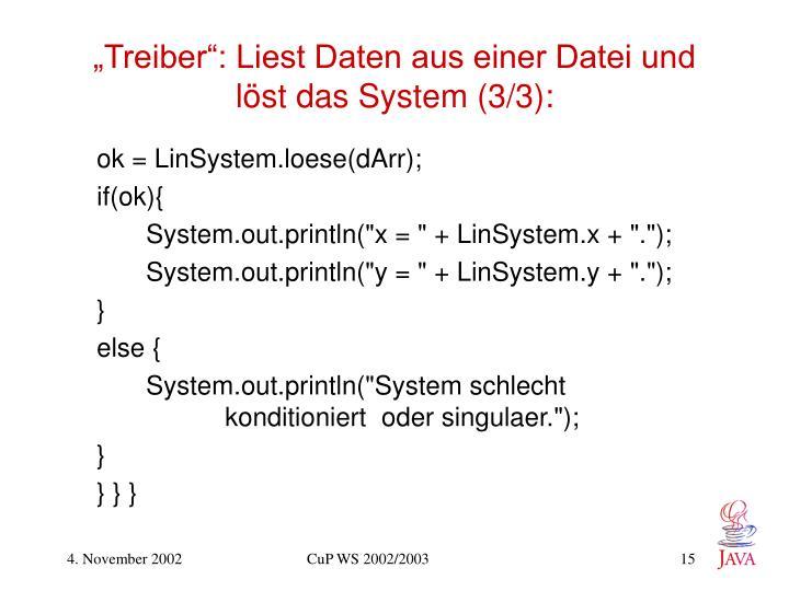 """""""Treiber"""": Liest Daten aus einer Datei und löst das System (3/3):"""