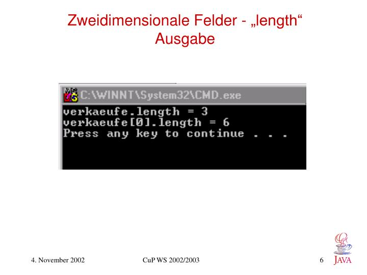 "Zweidimensionale Felder - ""length"""