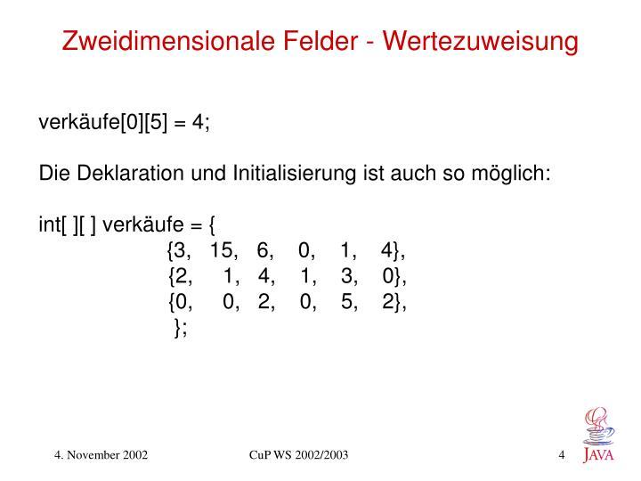 Zweidimensionale Felder - Wertezuweisung