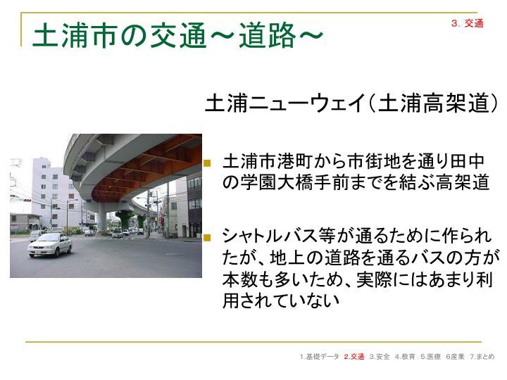 土浦市港町から市街地を通り田中の学園大橋手前までを結ぶ高架道