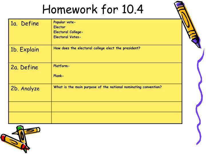Homework for 10.4