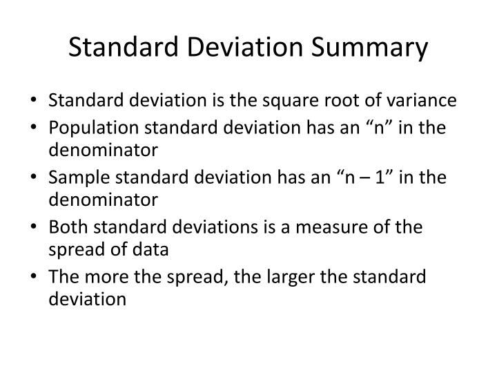 Standard Deviation Summary
