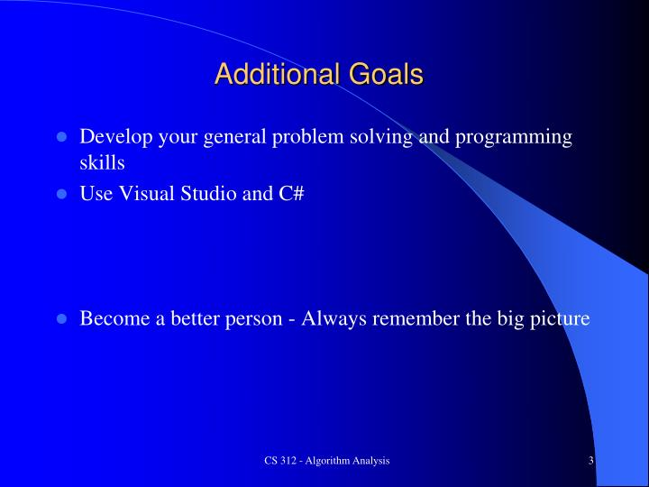 Additional Goals