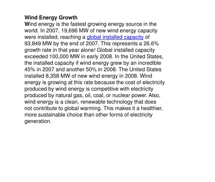 Wind Energy Growth